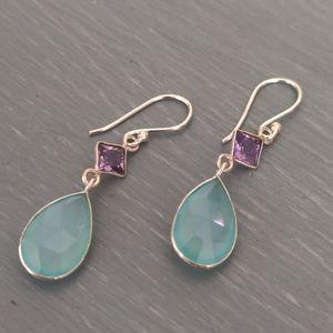 Jewelry - Chalcedony & Amethyst Sterling Silver Earrings